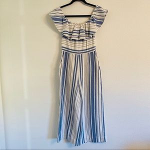 Joie blue white striped off the shoulder jumpsuit